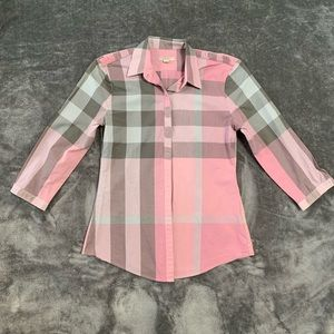 Burberry Brit pink and grey button down shirt